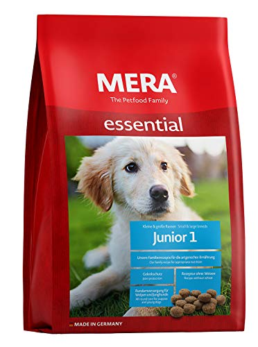 MERA essential Hundefutter > Junior 1 < Für Welpen & Junghunde - Trockenfutter mit Geflügel - Ohne Weizen & Zucker - Welpenfutter für alle Rassen (12,5 kg)
