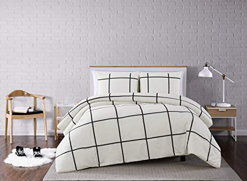 Truly Soft Everyday Black and White Stripe Comforter, King, Kurt Windowpane