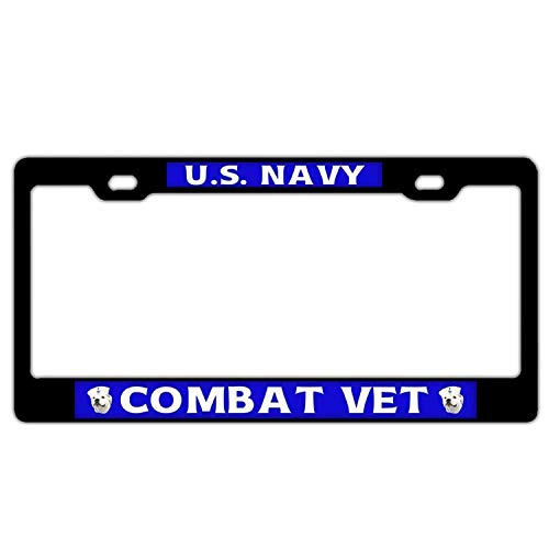 Findguage U.S.Navy Combat Vet 4 Customized Car License Plate Frame for Man Women Pretty Cute Auto License Plate Frame Humor