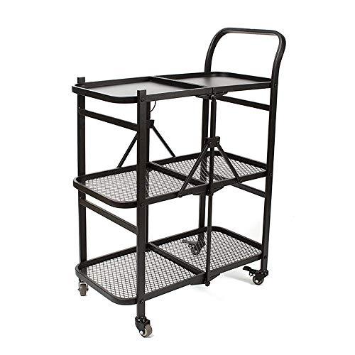 KANJJ-YU Carrito de almacenamiento plegable con ruedas – Carrito de recogida extraíble para el hogar de tres niveles con práctico asa de 3 capas de rejilla de metal de almacenamiento de alimentos
