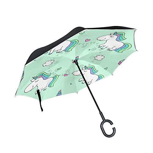 rodde Regenschirme für den Außenbereich Double Layer Inverted Table mit C-förmigem Griff Unicorns Windproof Reverse