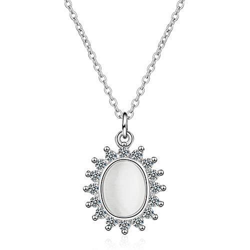DYFUHO Collar con Colgante De Cristal De Ópalo De Plata De Ley 925 para Mujer, Cadena De Plata De Ley 925 Plateada Que Nunca Se Desvanece (Girasol, O-chain20 * 13 Mm)