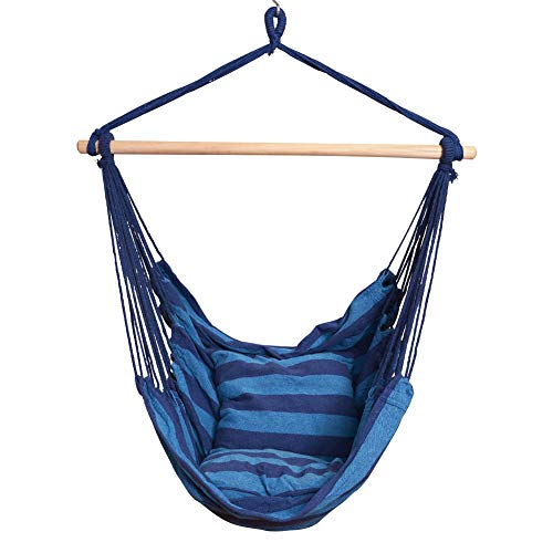 Price comparison product image PRIME GARDEN Comfort Hanging Hammock Chair,  Rope Swing Chair with 2 Cushions for Indoor or Outdoor -- Max. 275 Lbs / Seaside Blue Stripe