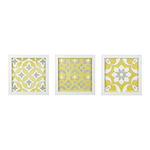 Madison Park Heart Strings 3 Piece Set Wall Art - Tuscan Tiles Framed Gel Coated Canvas Modern Bohemian Design Multi Panel Abstract Global Inspired Painting Living Room Accent Dcor, 12