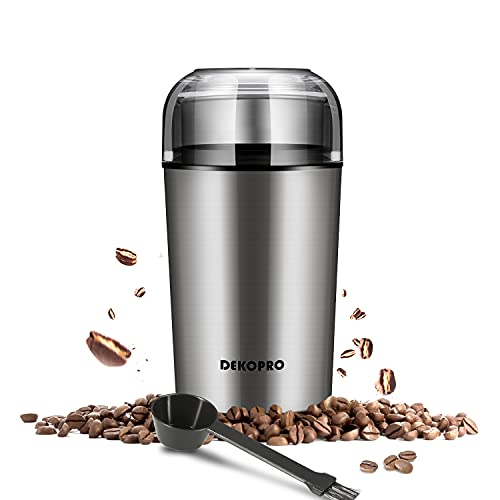 DEKOPRO Electric Coffee Grinder for Beans & Spice Grinder with Removable Grinding Chamber, Stainless Steel Blades Portable Size Easy On/Off, Cleaning Brush Included