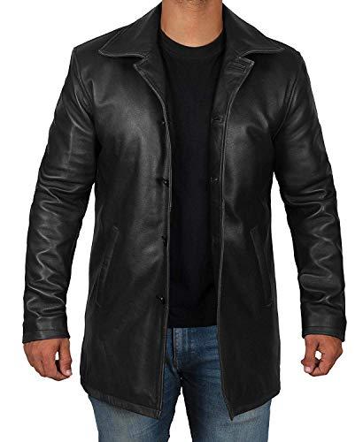 fjackets Black Mens Leather Jacket - Genuine Lambskin Black Leather Coat Jacket for Men | [1500044], Supernatural Black L