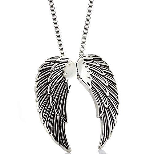 HLY Collar de temperamento simple, colgante de plumas de ángel de acero de titanio, hombres y mujeres de época, collar de alas personalizadas de acero inoxidable, accesorios