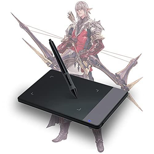 Tableta de Dibujo gráfico, Tableta de Dibujo 10.1x6.5cm, Tablet gráficos Dibujo Tablets Pad con 8192 Niveles Lápiz sin batería, Compatible con Mac, PC para Pintar, diseño