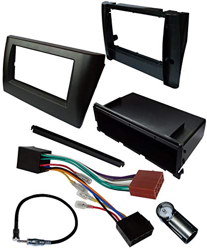 AERZETIX - Kit di montaggio per autoradio standard 1 e 2DIN - Mascherina telaio, cavo di collegamento e adattatori per antenna - Nero antracite - C11553A