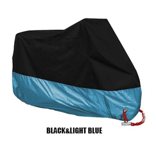 WSWJJXB UV Protection Cover Motorcycle Rain Cover Outdoor Waterproof Motorcycle Boot Scooters Four Seasons (Color : Black Light Blue, Size : 4XL 231 260cm)