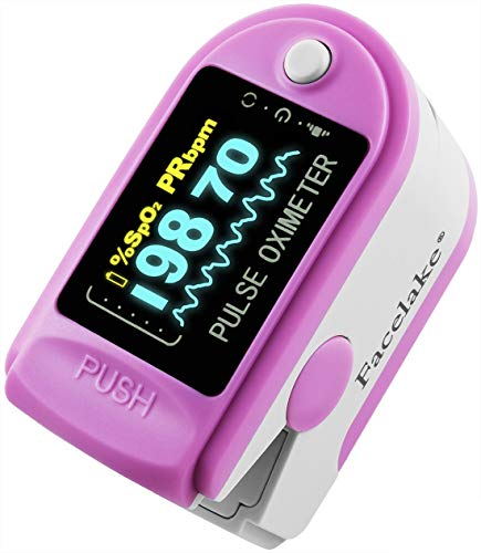 Facelake FL-350 Pulse Oximeter with Carrying Case & Batteries & Lanyard, Pink