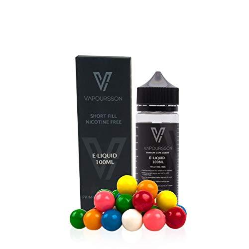 Vapoursson 100ml Kaugummi 0mg E-Flüssigkeit, Shortfill Nikotinfreie Flaschen, 50/50 PG/VG - Starke echte Aromen, Für E-Shisha und E-Zigaretten