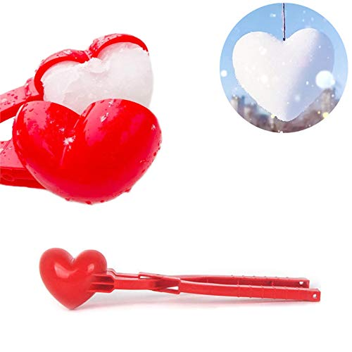 Heart Snowball Maker Tool with Handle for Snow Ball Fights, Winter Outdoor Toys Snow Ball Clip for Kids and Adults, Decorate Hearts for Winter Trees