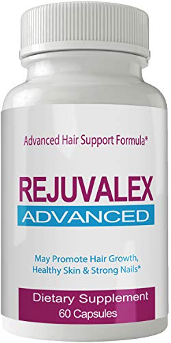 Rejuvalex Advanced Hair Growth Formula - Unique Supplement with Vitamins and Minerals with Biotin - Gluten Free 60 Capsules - Hair Lash Skin and Nails Extra Strength Formula Growth Booste