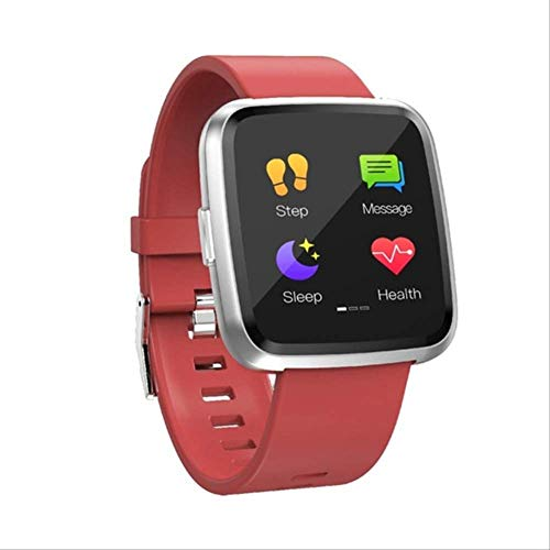 ZHOUMEI Praktische Smart horloge Mannen Hartslag Monitoring Sfygmomanometer Fitness Armband Waterdichte Stappenteller Vrouw Smartwatch (Kleur : Zwart)