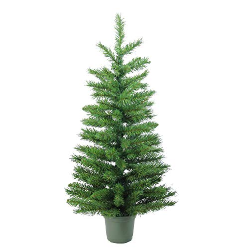 Northlight Slim Walkway Artificial Potted Christmas Tree, 3', Green