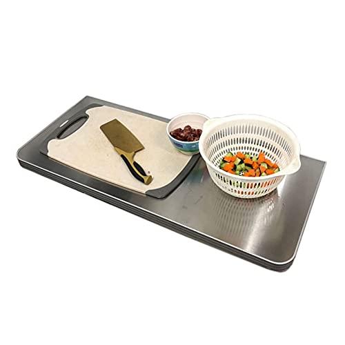 LOUXIAO gute Dinge Klapptisch Edelstahl Wandmontierter Fold-Down-Tisch Wasserdicht Faltgefalte Regal Dauerhafter Hänge an der Wandkonsole für Küchenbedürfnissessen (Farbe: Silber, Größe: 60x30cm) Comm