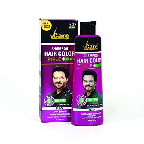 VCare Shampoo Hair Color Triple Plus, Black, 180 ml