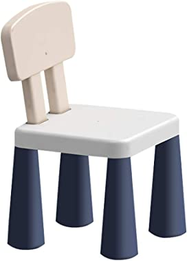 Miteabs Chair Kindergarten Plastic Stool, Backrest Learning Chair, Strong and Durable, Light and Easy to Move (Blue)