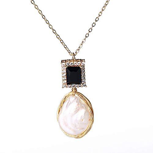 Feng-Shui-Halskette Für Frau Reichtum Echter Perle-Kupfer-Halskette Mit 14K Gold Überzogenen Black Zircon Anziehen Glück Geschenk Für Mann Frau Paar Besten Freund,Black Zircon