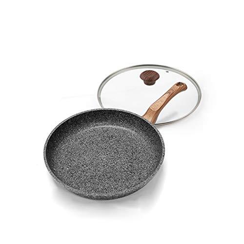 SHYPT Olla de cocina, sartén antiadherente espesante, piedra médica, panqueque multiusos, sartén para carne, pastelería, sin humos, uso de gas Wok