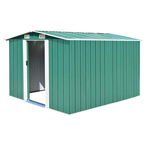 UnfadeMemory Geräteschuppen Metall Gartenhaus Schuppen aus Verzinkter Stahl Metallgerätehaus mit 4 Lüftungsschlitzen Lagerschuppen zur Aufbewahrung (257x298x178 cm, Grün)