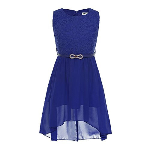 Freebily Vestido de Princesa Ceremonia Bautizo Fiesta Encaje Floreado con Cinturón para Niña (6-14 Años) Vestido de Noche Azul 12 Años