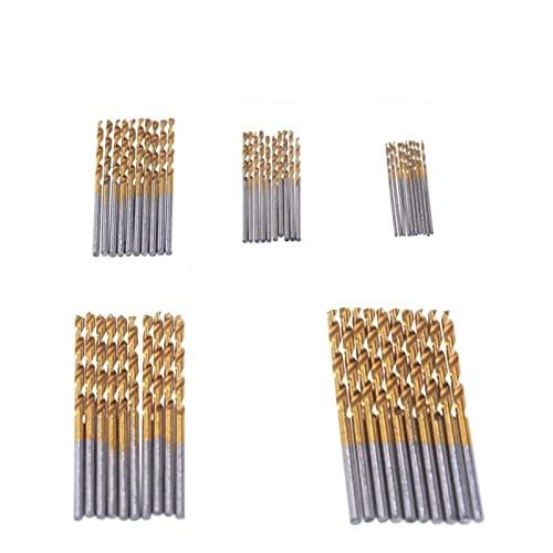 LQCHH Bien Hecho 50 unids Brocas bits 1/1.5/2 / 2.5 / 3mm HSS Titanio Recubierto Twist bit de Acero de Alta Velocidad Conjunto de Broca de Madera de Madera Herramienta de Madera Brocas práctico