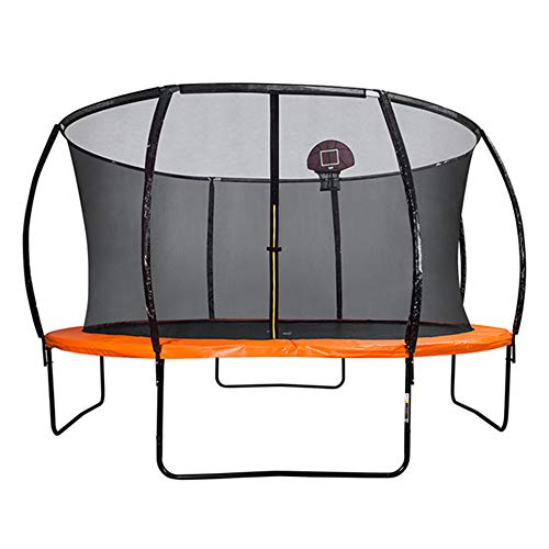 QXTT Trampolines For Kids 10ft/12ft/14ft/16ft With Enclosure Trampoline With Safety Enclosure Net Spring Cover Foam Padding Rust-resistant Hot Dip Galvanised Frame Garden Outdoor,12FT