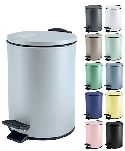 Spirella - Pattumiera da bagno in acciaio INOX, 3 litri, con sistema di abbassamento automatico e secchio interno, colore: blu ghiaccio