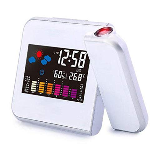 Digitale thermometer, tafelklok, wekker, digitale thermometer voor hygrometer, binnenshuis, met projectiefunctie, LCD-temperatuur-vochtigheidsmeter, alarm, sluimerfunctie, kalender, weersvoorspelling, antiek