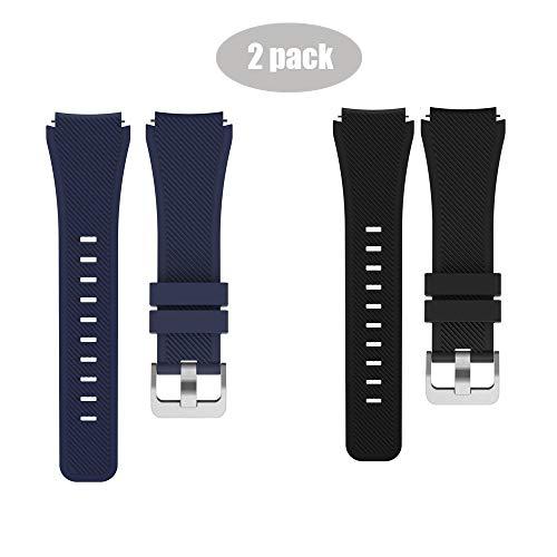 LvBu Armband Kompatibel Für PowerWatch 2, Sport Silikon Classic Ersatz Uhrenarmband Für Matrix PowerWatch 2 Smartwatch (Schwarz+Blau)