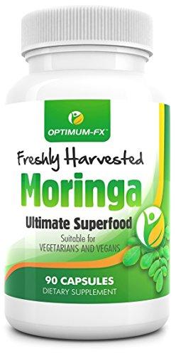 MORINGA Cápsulas 100% Moringa Olefeira Premium Cruda y Pura Cosechada Directamente Del Árbol De Moringa Detox Natural 90 Cápsulas Aptas Para Vegetarianos
