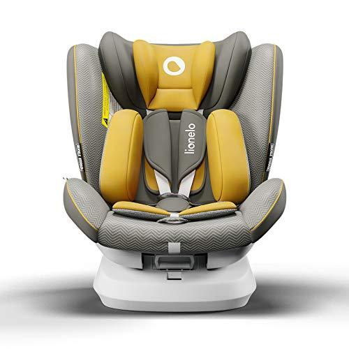 Lionelo Bastiaan One silla de coche bebe desde el nacimiento hasta los 36 kg giratoria a 360 grados Isofix Top Tether cinturón de seguridad de 5-puntos (Amarillo)