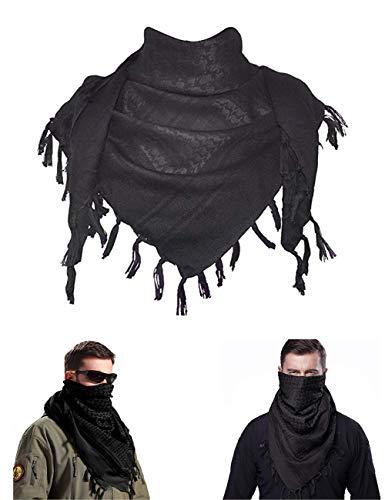 MiaoMa dicker Außen 100% Baumwolle Militär Tactical Desert Shemagh Palästinensertuch-Schal Wrap, schwarz