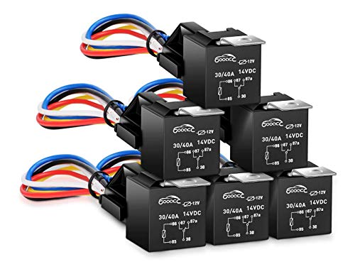 GOOACC 6 Pack Automotive Relay Harness Set 5-Pin 30/40A 12V SPDT with...