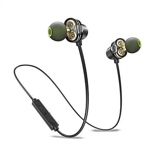 Dual Driver Bluetooth Earphones, Awei Wireless APTX In Ear Sports Earbuds Sweatproof Headphones for Running Exercise (HD Sound, Bluetooth 4.2, IPX5, Magnetic, Noise Cancelling Mic) Black