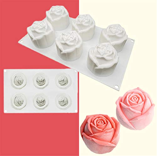 ZJN.DD Einfache Eiswürfelschale Silikon-Rosenform, Silikon-Schokoladenform, 6-Fach rosafarbene Seifenform.