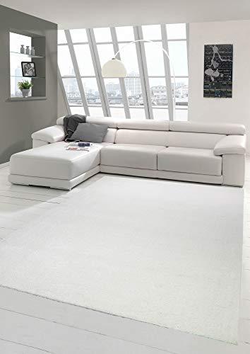 Wohnzimmer Teppich modern Kurzflor mit Uni Design in Creme Größe 80x150 cm