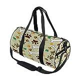 Dibujos animados perro huella con hueso viaje bolsa de deporte gimnasio equipaje bolsa para hombres mujeres