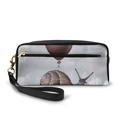 Pencil Case Pen Bag Pouch Stationary,Snail Hovering in Sky with A Balloon Home is Where The Heart is Print,Small Makeup Bag Coin Purse