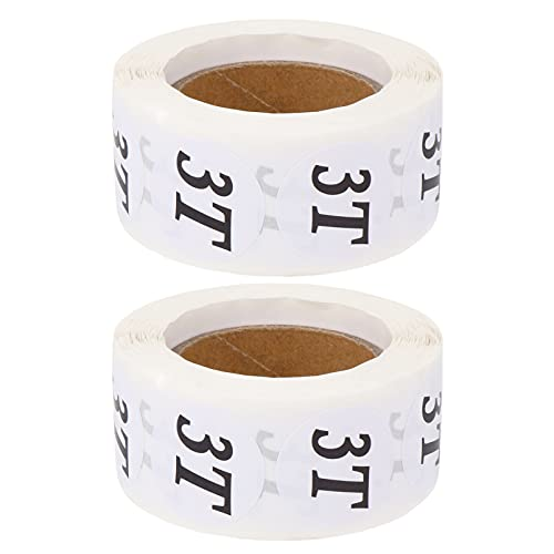 STOBOK 2 Rollos de Ropa de Bebé Pegatinas de Tamaño Redondo 2T a 5T Etiquetas de Tamaño Adhesivo Círculo Calcomanías de Ropa Etiqueta para Camisetas por Menor Artesanías de Tamaño Que