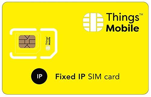 TARJETA SIM con IP ESTÁTICA para IOT y M2M - Things Mobile - con cobertura global, red multi-operador GSM/2G/3G/4G LTE, sin costes fijos, sin vencimiento, con 10 € de crédito incluido
