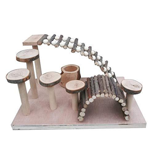 Eillybird Hamerspeelgoed, houten ladder, kleine huisdiertrap, fitness, oefenspeelplaats, speelplaats, dierenvoer, geschikt voor hamster, goudbeer, papegaai en andere, Een