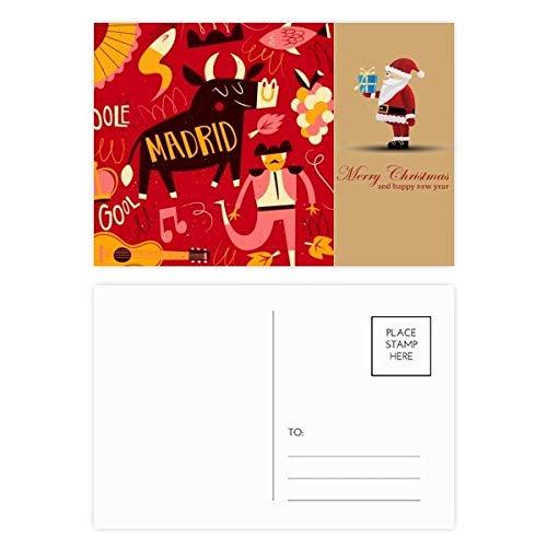Madrid Spanischer Bullfight Music Fiesta Santa Claus Postkarten-Set Dankeskarten 20 Stück