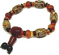 Feng Shui Perle Armband Damen-modische tibetische Dzi-Perle-Wulst geheimnisvolle buddhistische Armband (schützendes Amulettarmband für positive spirituelle Vorteile) Fünf drei Augenperlen mit hängende