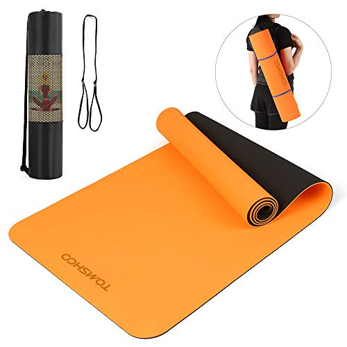 TOMSHOO 6mm Thick Yoga Mat TPE Eco Friendly Material Non-Slip Exercise mat 72.05 * 24.01 in Dual-Colored Fitness mat with Carrying Strap and Storage Bag