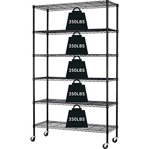 6-Tier Storage Shelf Heavy Duty Storage Shelving Unit NSF Height Adjustable Metal Storage Rack with Wheels for Laundry Bathroom Kitchen Garage Pantry Organization 2100 LBS Capacity-82'x48'x18' (Black)
