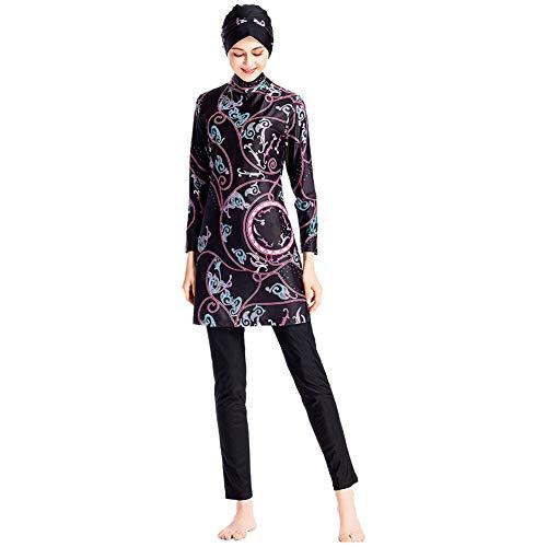 Meijunter Muslimische Frauen Burkini Bademode - Modest Badeanzug Set Druck Elastischer Badeanzug Hijab Schnelltrocknendes Badekostüm Sonnenschutz Beachwear