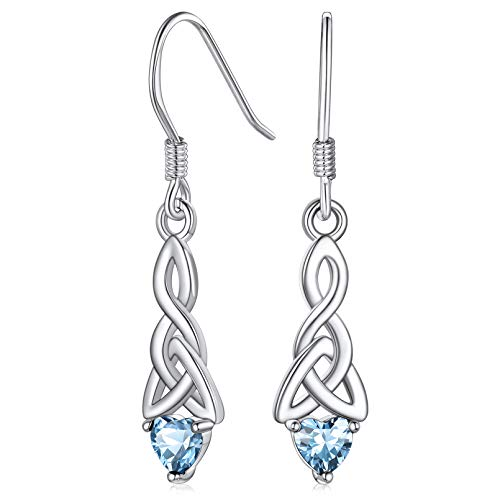 FaithHeart Old-school Celtic Knot Drop Earrings Heart Birthstone Dangle Earrings for Women Sterling Silver Jewelry March Birthstones